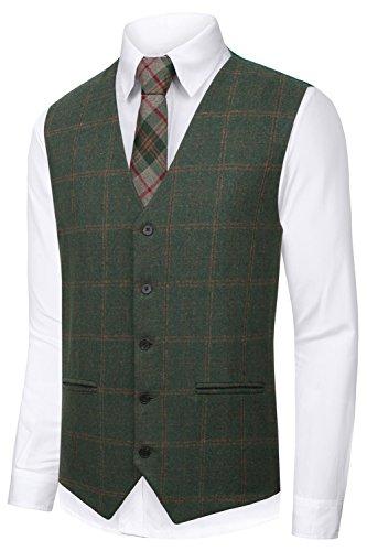 Hanayome Men's Waistcoat V-Nek 5 Button Regular Fit Wedding Tweed Plaid Suit Vest VS59 (Green,L) (Plaid Cotton Suit)