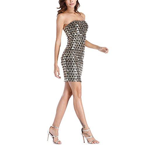 Bodycon Da Tuta Gold Off Sexy Clubwear Spalla Niais Donna fTAPxAq