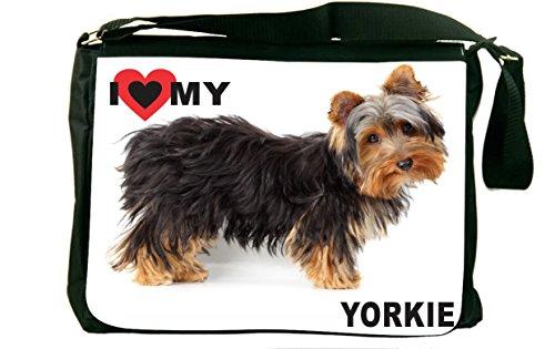 Rikki Knight I Love My Yorkie Dog Messenger Bag School Bag by Rikki Knight