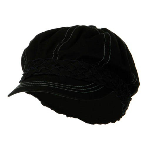 (MG Ladies Brushed Canvas newsboy Hat - Black)