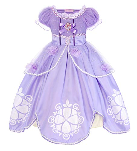 HenzWorld Sofia Dress Costumes Princess Birthday Party Cosplay Halloween Outfit Ruffle Outfits Purple 1-2 Years