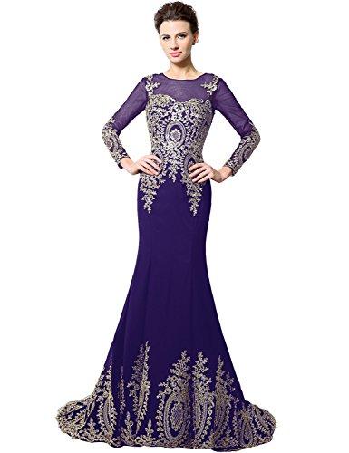 962c5647210b8e Mermaid Rundhalsausschnitt Damen Violett Sarahbridal Sxu040 Ballkleid Lang  Langarm Abendkleider ...