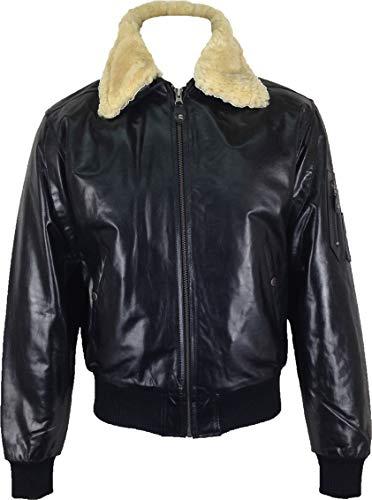 UNICORN Mens Airforce Aviator Pilot Real Leather Jacket Black (Real fur collar) #P1 (XXL) (Unicorn Men Leather Jacket)