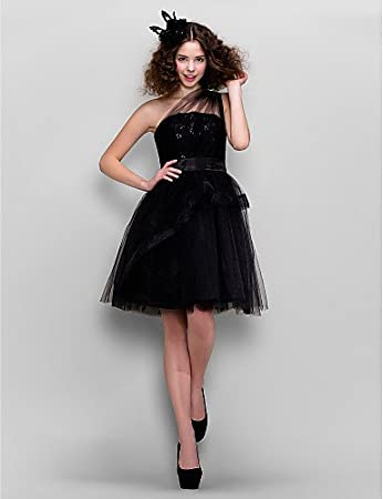 HY&OB A-Line One Shoulder Knee Length Tulle Prom Dress With Lace ,Black,
