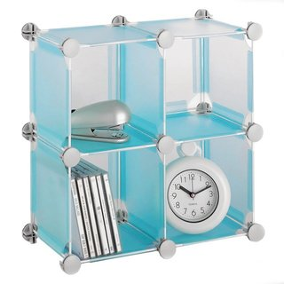 Organize It All Set of 4 Translucent Connecting Storage Cubes – (Cube Quadrant Collection)