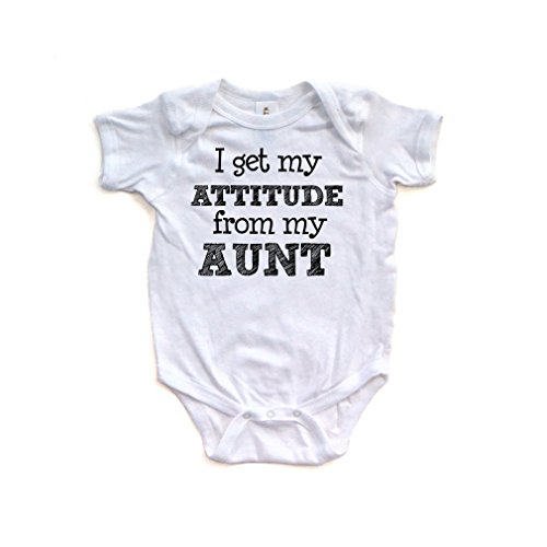 Aunt Bodysuit (Apericots I Get My Attitude from My Aunt Funny Short Sleeve Baby Bodysuit)