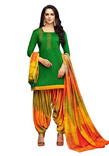 Ladyline Kora Silk Handwork Salwar Kameez with Banarasi Silk Dupatta Ready to Wear Salwar Suit Indian (Size_46 / Green)