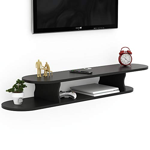 Audio Shelves Mounted Wall - Tribesigns 2 Tier Modern Wall Mounted Media Console Floating TV Shelf TV Stand 59x13x7 inch for Xbox One/PS4/Cable Box/DVD Players/Game Console (Black)
