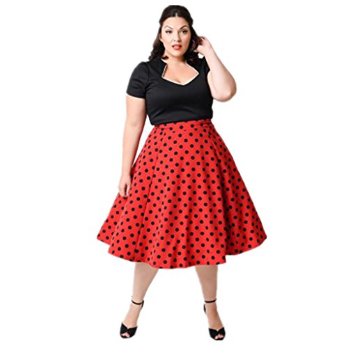 MissNina Women's Plus Size 50s Vintage Classic Rockabilly Swing Dress (6XL, Red)
