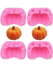 Ropniik 3D Halloween Pumpkin Baking Mold, 2 Pairs Mini Pumpkin Silicone Mold Tool Halloween Chocolate Candy Clay Soap Candle Mold Autumn Thanksgiving Pumpkin Mold DIY Handmade Decoration