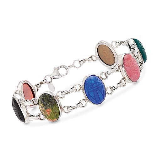 (Ross-Simons Multi-Stone Scarab Bracelet in Sterling Silver)