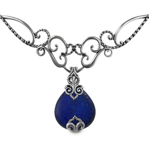 Carolyn Pollack Sterling Silver Sincerely Fabulous Statement Necklace with Lapis Enhancer Lapis Enhancer Pendant