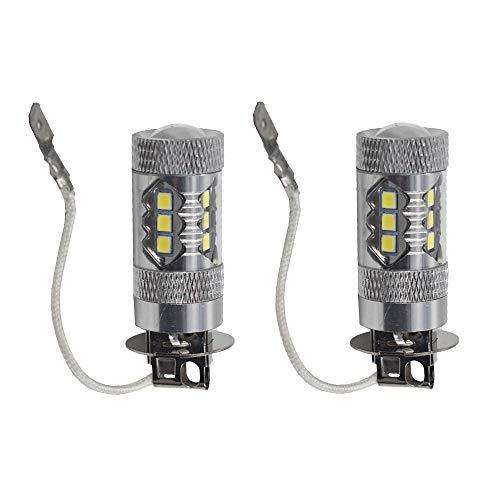 2pcs H3 6000K White 80W Super Bright LED Fog Tail Turn DRL Head Car Light Lamp Bulb ()