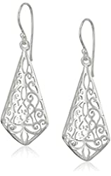 Sterling Silver Diamond Shape Filigree Drop Earrings