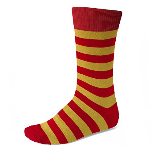 Men's Red and Gold Striped Socks (Red And Yellow Striped Knee High Socks)