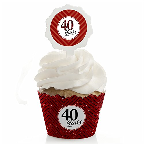 We Still Do - 40th Wedding Anniversary - Cupcake Wrapper and Pick - Cupcake Decorating Kit - Set of 24