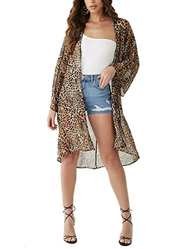 (Women's Long Kimono Plus Size Chiffon Sheer Floral Casual Loose Cardigan Summer Open Beach Cover Ups (Leopard Print, 3XL))