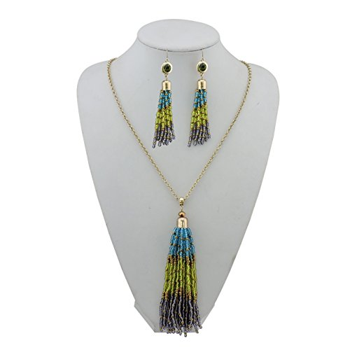 BOCAR Long Gold Chain Seed Beads Jewelry Necklace Earring Set with Cluster Tassel Pendant (NK-10447)