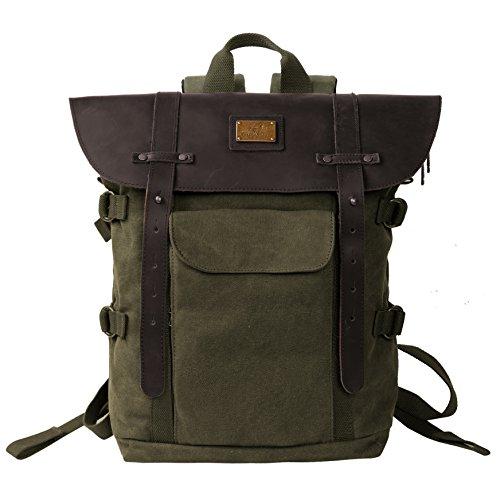 Crazy Horse Glasses Frames (Leather Backpack for Men TOPWOLFS Canvas Backpack Vintage Rucksack fit 15.6