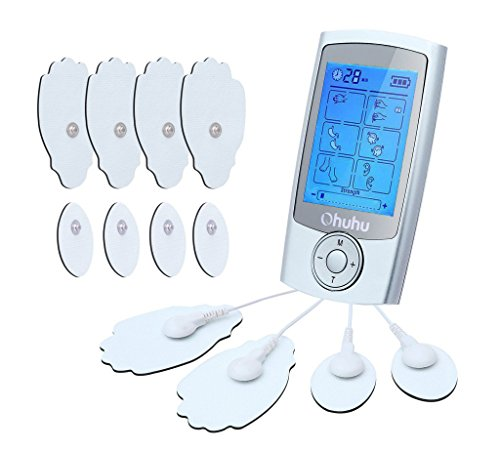 Ohuhu FDA Tens Unit Electric Massager EMS Rechargeable 12 Tension Unit Pads 16 Modes Digital Pulse Therapy Muscle Stimulator Back Pain Relief Machine