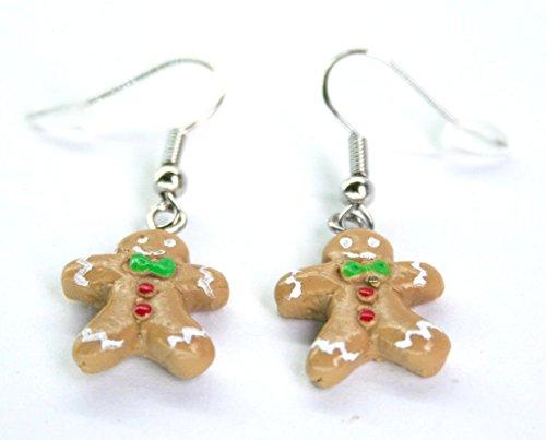 Polymer Clay Handmade Ginger Bread Man Cookies Earrings