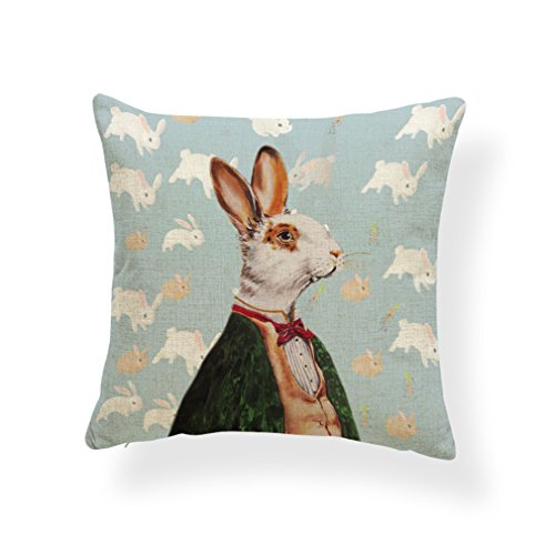 PSDWETS Easter Cute Rabbit Home Decor Pillow Covers Cotton Linen Bunny Throw Pillow Case Cushion Cover 18 X 18