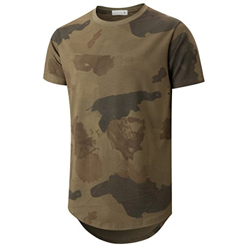 Ucky bird Mens Hipster Hip Hop Elong Round Hemline Crewneck Camouflage T-Shirt (Large, Green)