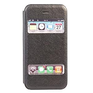 LZXLichee Pattern Double Window Stand Leather Case for iPhone 4/4S , Brown
