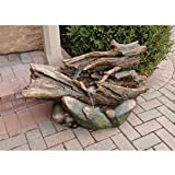 22'' Classic Meditative Oasis Tree Trunk Natural Stone Home Gallery Garden Fountain