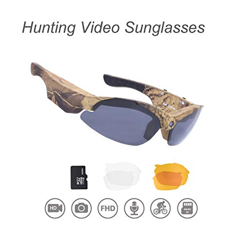 OHO 15MP Video Sunglasses, 16GB 1080i HD Outdoor Sports Action Camera for Hunting with Built in 15MP Wide Angle Camera and Polarized UV400 Protection Safety Lenses (1080P CAMO)