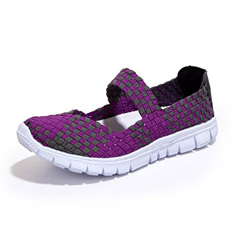 gewebt Schlupf Sportschuhe Casual L leichte Schuhe Frauen Lila auf RUN Wasser wxIaq6RpI