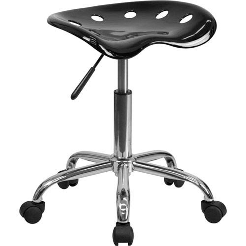Parkside Vibrant Black Tractor Seat and Chrome Stool by Parkside