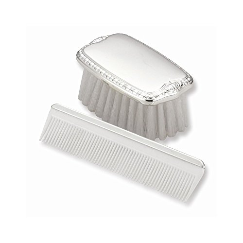 Jewelry Adviser Gifts Sterling Silver Gift Boxed Boys Comb and Brush Set