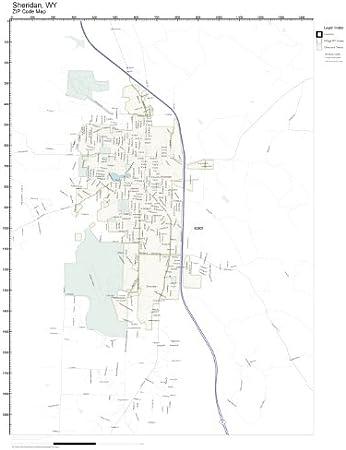sheridan wy zip code map Amazon Com Zip Code Wall Map Of Sheridan Wy Zip Code Map