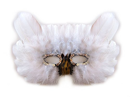 Owl Wing Costume (SACASUSA Feather Owl Costume Mask Halloween Mardi Gras in White)