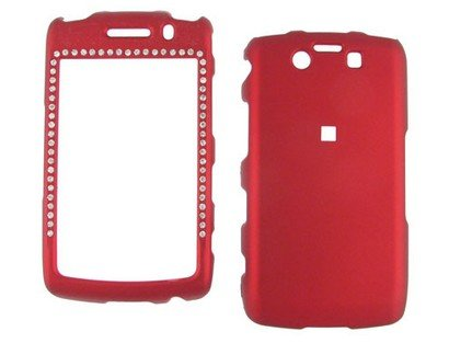 Rubberized Plastic Case with Diamonds Red For BlackBerry Storm 2 9550 -