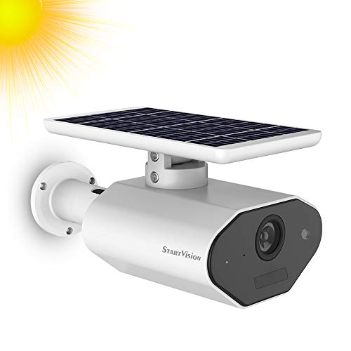 Solar Battery Powered Security Camera, StartVision Outdoor 2.4GHz WiFi IP Camera with Motion Detection Night Vision, Wireless Home Surveillance Camera Built in Battery, IP65 Waterproof Weatherproof