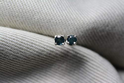 Certified 0.21 Carat Alexandrite Earrings, Color Change Studs Genuine Natural Real June Birthstone Round Cut Sterling Silver Jewelry AE27 ()