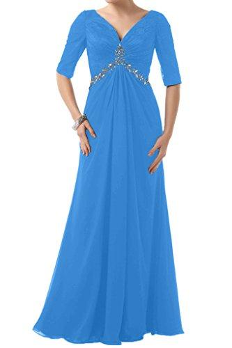 Aermel Steine Dunkelblau Brautbegleiterinkleid Ivydressing Ausschnitt Chiffon Festkleid Halb Abendkleid Lang V Damen w6wtfqxPX