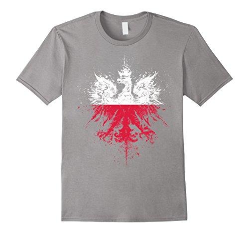 Mens Polish Eagle | Polish Pride | Polish Flag | Polish T-Shirt XL Slate