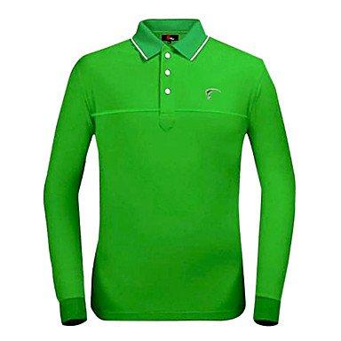Odoor TTYGJ Men's Polyester+Spandex Long Sleeve Green Golf Shirt