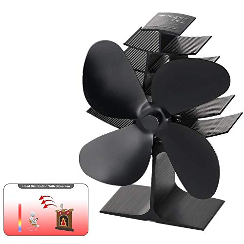 Fan Blade Decor - YUEMI 4-Blade Heat Powered Stove Fan Wood/Log Burner/Fireplace Increases 80% More Warm air Than 2 Blade,Stove Fan for Wood Stoves Gas Stoves Pellet Stoves Log Burner Fan Ultra Quiet Fireplace Fan