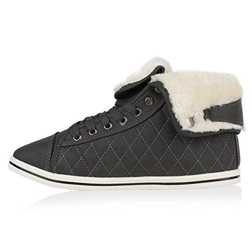 High Schuhe Stiefelparadies Warm Sneaker Übergrößen Winter Gr Flandell 36 Gesteppt Gefütterte 42 Kunstfell Damen Turnschuhe Sneakers Sportschuhe Dunkelgrau xXqwXBC