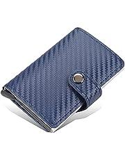 محفظة بايليري مع كراتة ألومنيوم بزر أتوماتيكي لخروج البطاقات بشكل تدريجي تحمل حتى 7 بطاقات مع كبسونة - كحلي