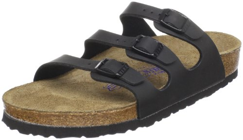 (Birkenstock Women's Florida Soft Footbed Birko-Flor  Black Birko-flor Sandals - 37 M EU / 6-6.5 B(M))