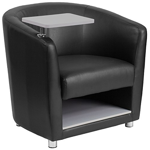 Flash Furniture Black Leather Guest Chair with Tablet Arm, Chrome Legs and Under Seat Storage (Lounge Finish Barrel Chair)