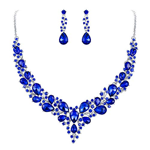 BriLove Wedding Bridal Necklace Earrings Jewelry Set for Women Austrian Crystal Teardrop Cluster Statement Necklace Dangle Earrings Set Blue Silver-Tone ()