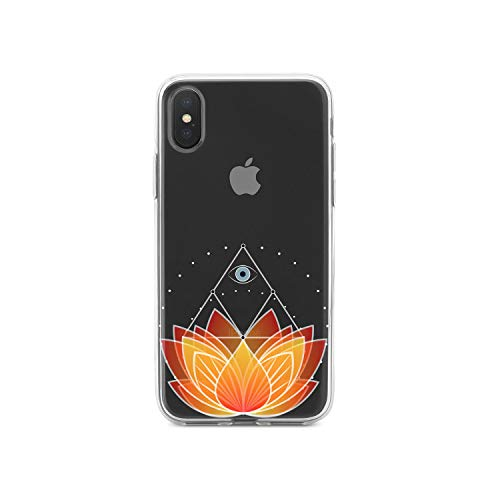 "Latest DistinctInk Clear Shockproof Hybrid Case for iPhone XR (6.1"" Screen) - TPU Bumper, Acrylic Back, Tempered Glass Screen Protector - Lotus Flower and Third Eye orange iphone xr case 12"