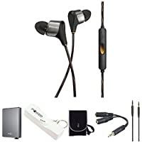 Klipsch XR8i HYBRID High Clarity In-Ear Black Headphone w/ Bundle Includes, Portable Headphone Amplifier, Speaker & Headphone Splitter, Portable Keychain Power Bank,3.5mm Audio Cable & Carrying Case