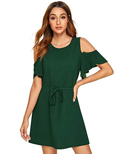Cold Shoulder Short - Milumia Women's Summer Cold Shoulder Ruffle Sleeve Elegant Plain Short Mini Dress Dark Green Large